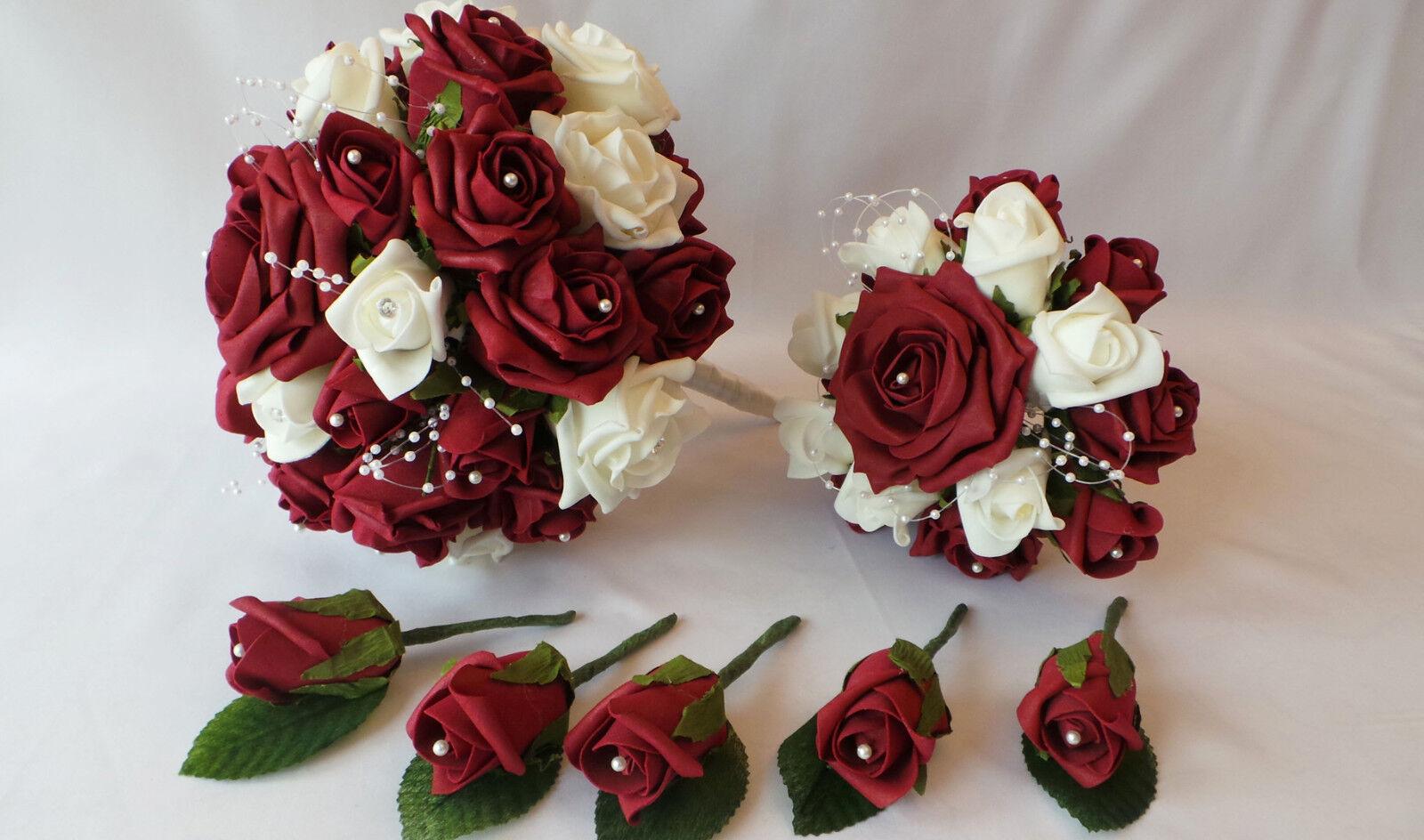 Bouquet, posy & & posy boutonnières bundle en bourgogne et roses blanches avec strass pin 3d173d