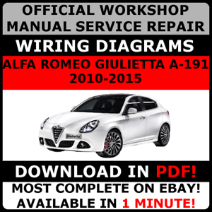official workshop repair manual for alfa romeo giulietta a 191 2010 rh ebay ie Alfa Romeo Spider Veloce alfa romeo giulietta 2010 wiring diagram