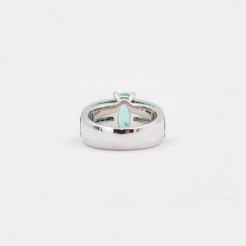 Transparent 3.38 Carat Oval Paraiba Tourmaline /& Black Onyx Fashion Band Ring