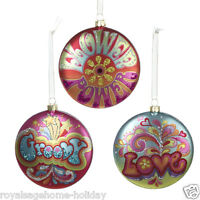 Td1266 Hippie Disc Glass Christmas Ornament Decoration Psychedelic Multi-color