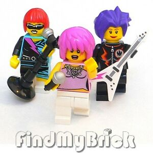 M641-Lego-3x-Custom-Female-Rock-Band-Singer-Custom-Minifigures-Lot-of-3-NEW