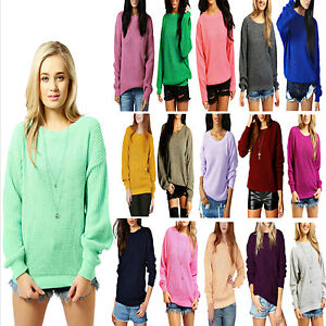 LADIES-OVERSIZED-BAGGY-JUMPER-KNITTED-WOMENS-SWEATER-CHUNKY-THICK-KNIT-WARM-TOP