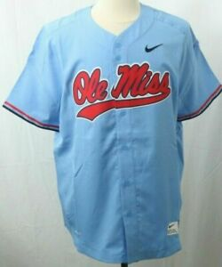 reputable site 80a42 be267 Ole Miss Rebels RARE Official Nike Dri-fit Blue Team Baseball Jersey Men XXL