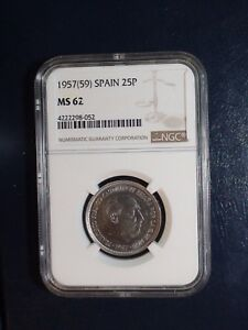 Details about 1957 (59) Spain Twenty Five Pesetas NGC MS62 25P Coin PRICED  TO SELL NOW!