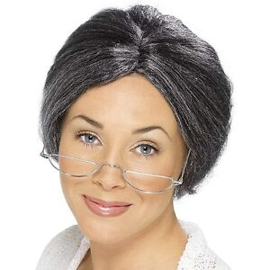 Womens Granny Wig Mrs.Claus Hair Gray Bun Librarian Old Lady Grandma ... 9af51489e0