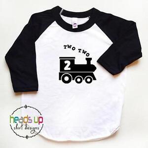 Image Is Loading 2nd Birthday Shirt Train Two Raglan