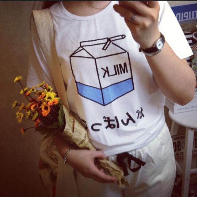 Special Women Summer Harajuku Cute Soft Milk Print Loose T-Shirts Basic Tee GT