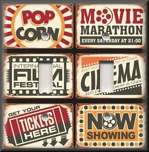 Home Theater Decor Metal Light Switch Plate Cover Vintage Cinema