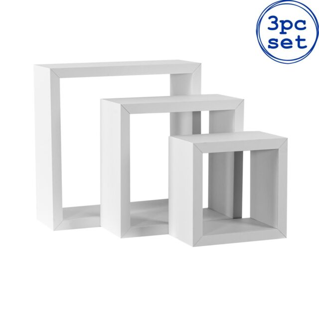 3x Floating Box Shelves Wooden Wall Mounted Storage Living Room 3 Sizes White
