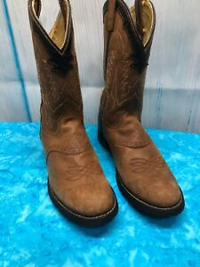 Tony-Lama-Kidz-Size-6-Cowboy-Boots-Light-Brown
