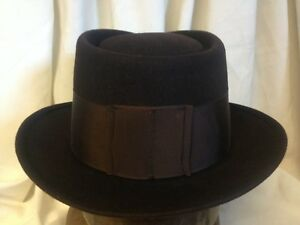 dd336234174 Vintage Royal Stetson Dark Maroon Pork Pie Fur Felt Fedora Hat w ...