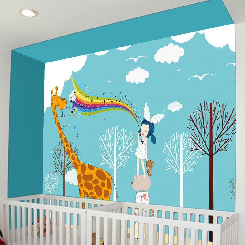 3D Mädchen Und Giraffe 7 Tapete Wandgemälde Tapete Tapeten Bild Familie DE
