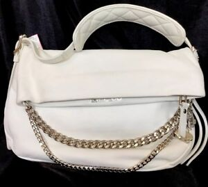 Details About Jimmy Choo Purse White Leather Triple Silver Chain With Charms One Handle Medium