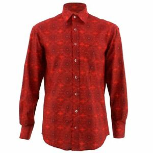 Men-039-s-Loud-Shirt-REGULAR-FIT-Tribal-Red-Retro-Psychedelic-Fancy