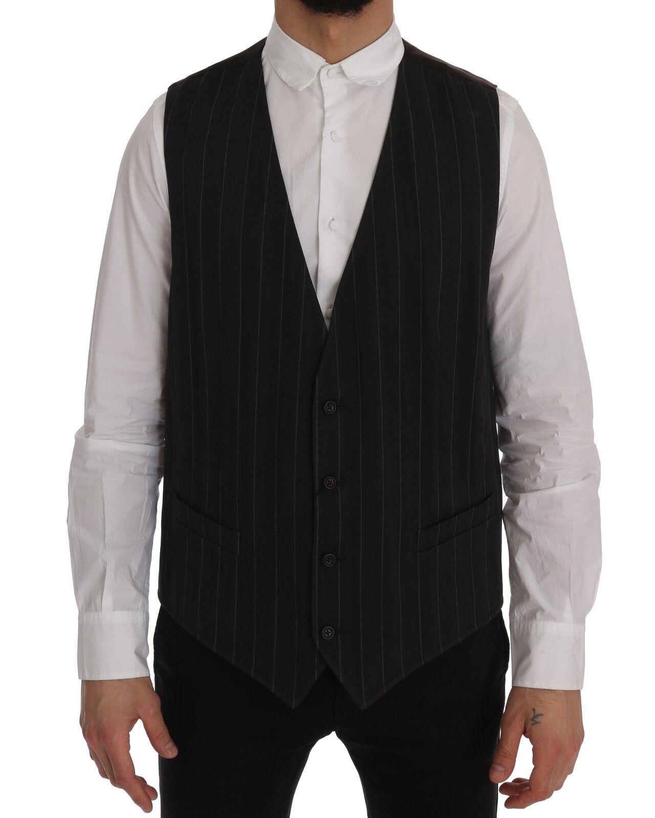 NEW DOLCE & GABBANA STAFF Vest Waistcoat grau Cotton Striped IT54/US44/2XL