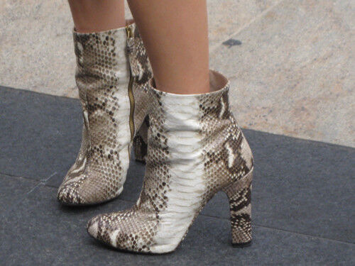 Zara Woman snake skin embossed leather ankle boots heels UK 5 Euro 38 Bloggers