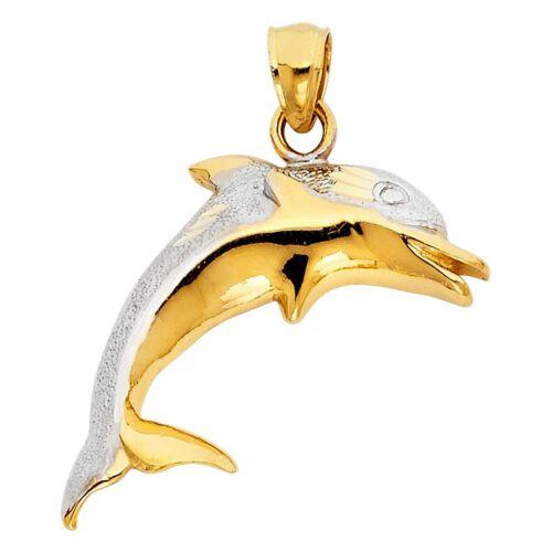14k Yellow /& White Solid Gold Dolphin Charm Sandblast /& Polished Fish Pendant
