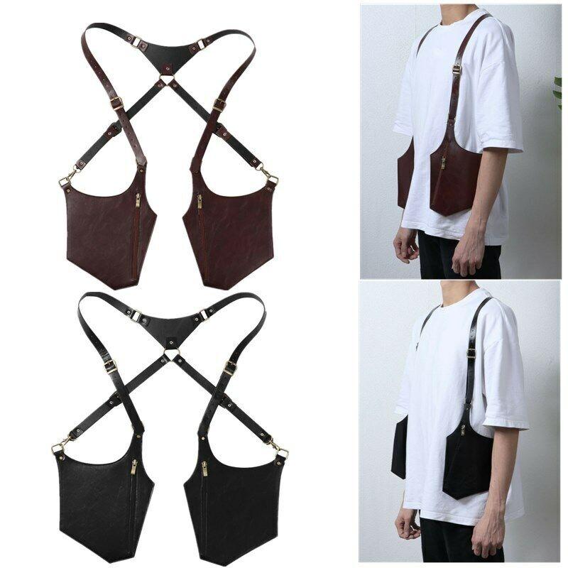 Men's PU Leather Strap Underarm Shoulder Bag Mobile Phone Bag Adjustable Zipper