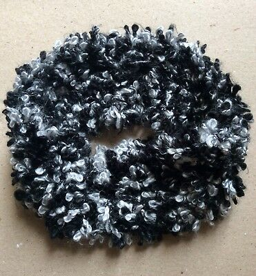 HANDMADE KNITTED Infinity Scarf Black Grey Cowl Casual Women Fashion Accessory
