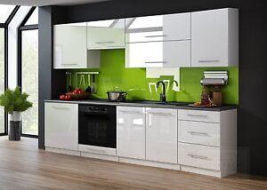 k chenzeile linda 240 cm wei hochglanz k chenblock einbauk che relinggriffe ovp ebay. Black Bedroom Furniture Sets. Home Design Ideas