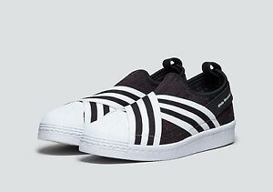 huge discount 44629 16cde Details about adidas men white mountaineering WM superstar slip on  primeknit black core white