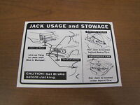 1964 Gto Lemans Tempest Jack Instruction Decal, 2nd Design