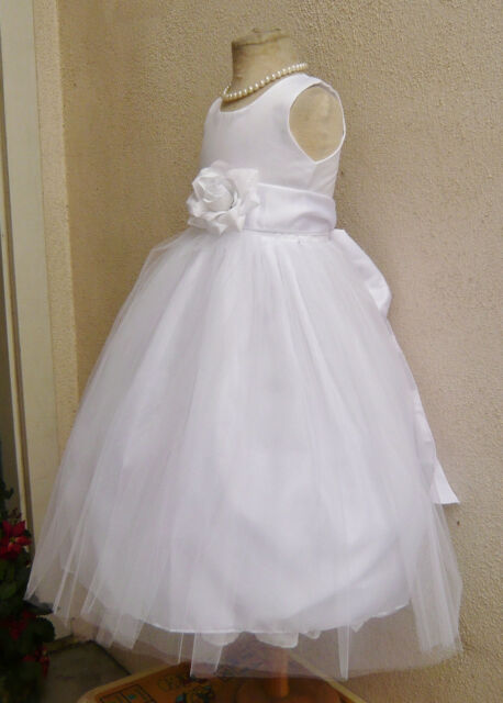 NEW WHITE GOLD SAGE CHAMPAGNE FLOWER GIRL PARTY PAGEANT WEDDING DRESS SZ 2 TO 12