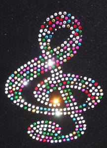 Clef-MUSIC-NOTE-MIX-Motif-iron-on-hotfix-rhinestone-CRYSTAL-diy-garment-applique