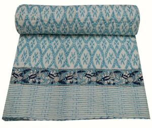 Kantha Quilt Indian Handmade Hand Block Print Bedspread 100/% Cotton Twin Size