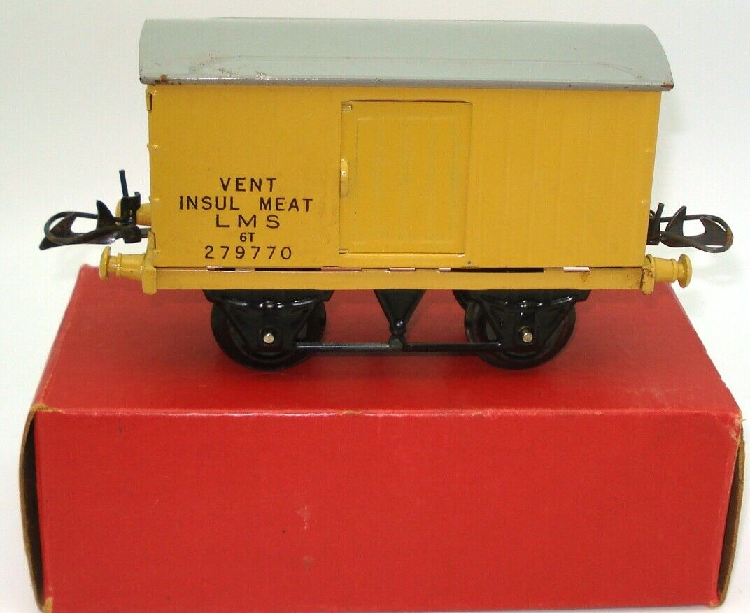 HORNBY O GAUGE NO. 1 INSUL MEAT LMS REFIRGERATOR VAN   RARE e AMINT scatolaED
