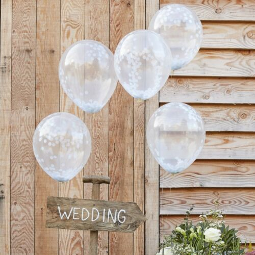 WHITE CONFETTI FILLED BALLOONS - Birthday,Party, Wedding Decoration. Venue Deco