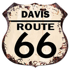 BPHR0007 DAVIS ROUTE 66 Shield Rustic Chic Sign  MAN CAVE Funny Decor Gift