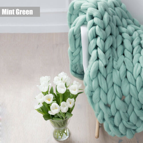 Soft Chunky Throw Thick Warm Sofa Knitted Blanket Hand Yarn Wool Bulky Arm Knit