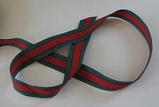 "Gucci Ribbon Green-Red-Green 1"" wide Woven Millinery Grosgrain  By the Yard"