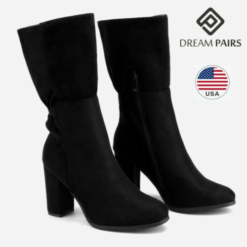DREAM PAIRS Women Suede Fur Lined Boots Winter Mid Calf High Heel Boots