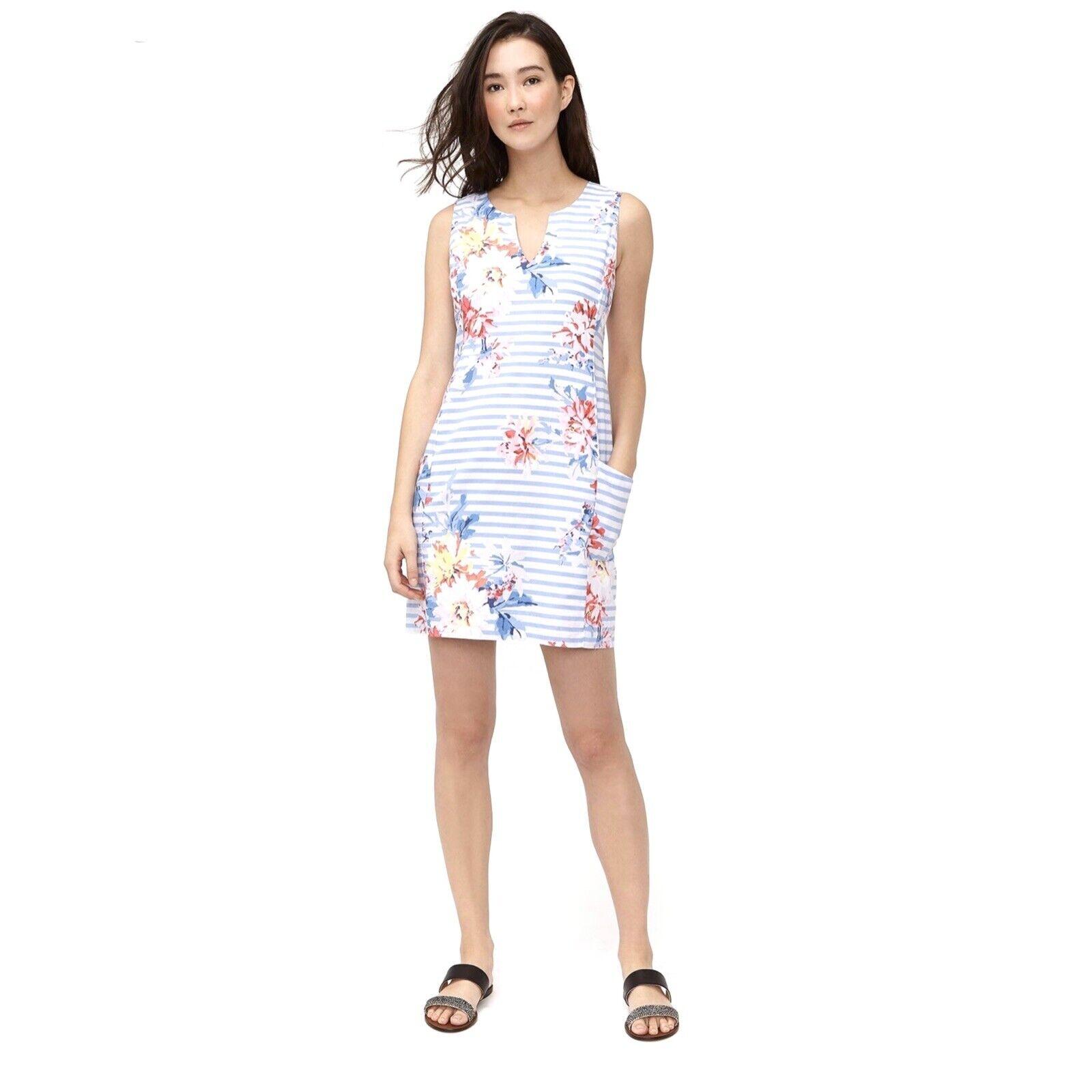 Joules Elayna Striped Floral Sleeveless Shift Dress sz 16 Blue White Pink Linen
