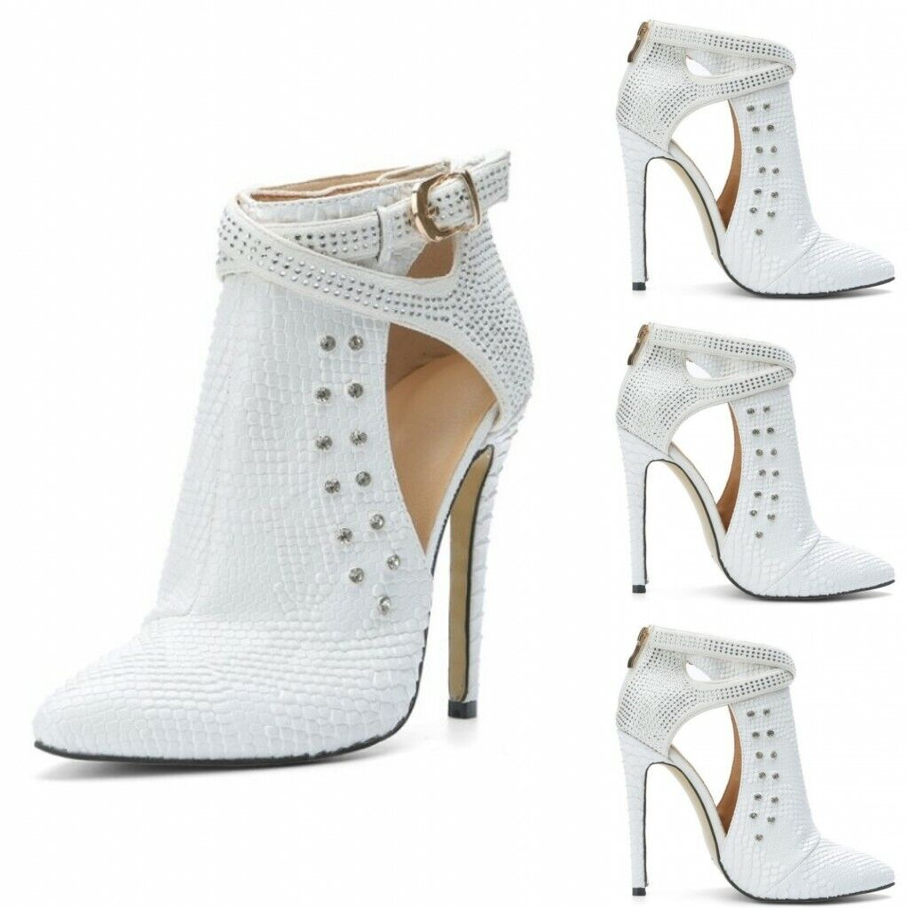 Donna Ankle stivali Buckle Pointed Toe High Heels Rhinestone stivali bianca Dimensione34-47