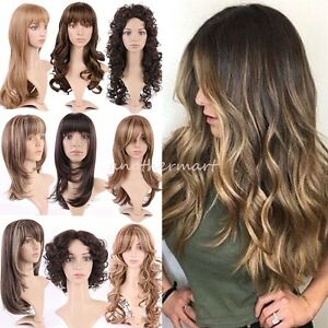 HOT-Highlight-Ombre-Blonde-Brown-Wigs-Synthetic-Hair-Heat-Safe-Glueless-Wavy-R6