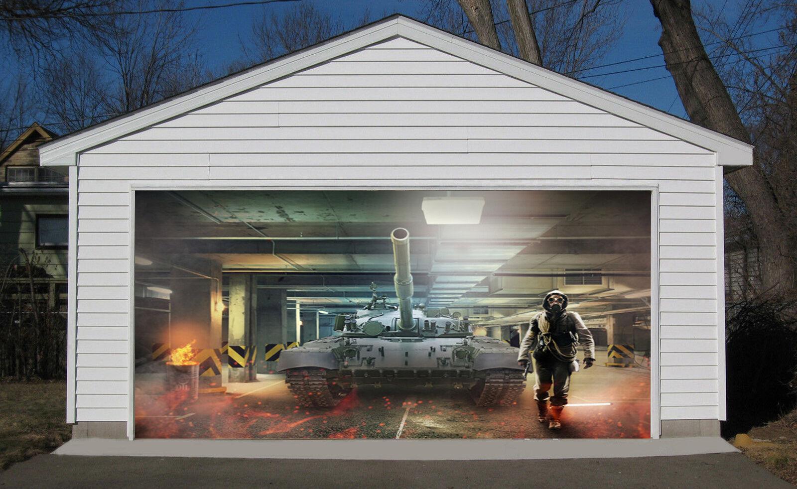 3D Mighty tanks Garage Door Murals Wall Print Decal Wall Deco AJ WALLPAPER UK