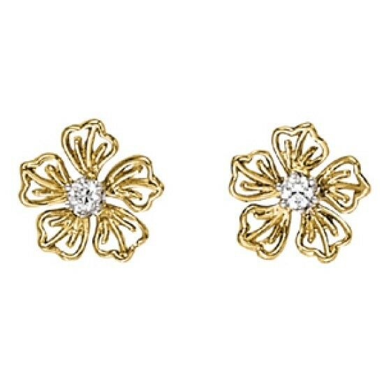 NEW 14K YELLOW gold DIAMOND FLOWER POST EARRINGS