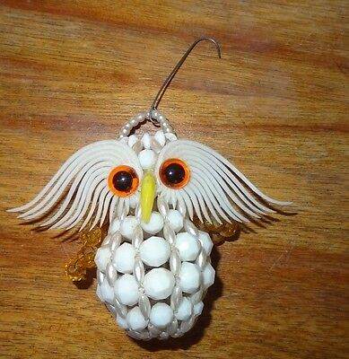 Vintage White Owl Beaded Christmas Ornament Hanger