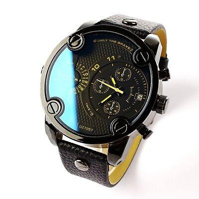 Cool Men's Analog Sport Steel Case Blue Mirror Quartz Date Leather Wrist Watch