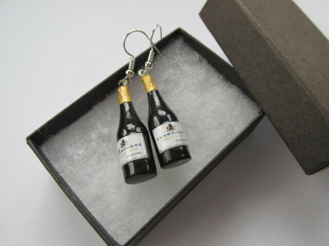 Handmade Miniature Ladies Fun Bubbly Fizz Bottle of Champagne Earrings  Gift Box