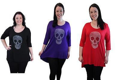 New Women/'s Ladies Plus Size 3//4 Sleeve Dip Hem Embellished Rock Skull Top 14-28