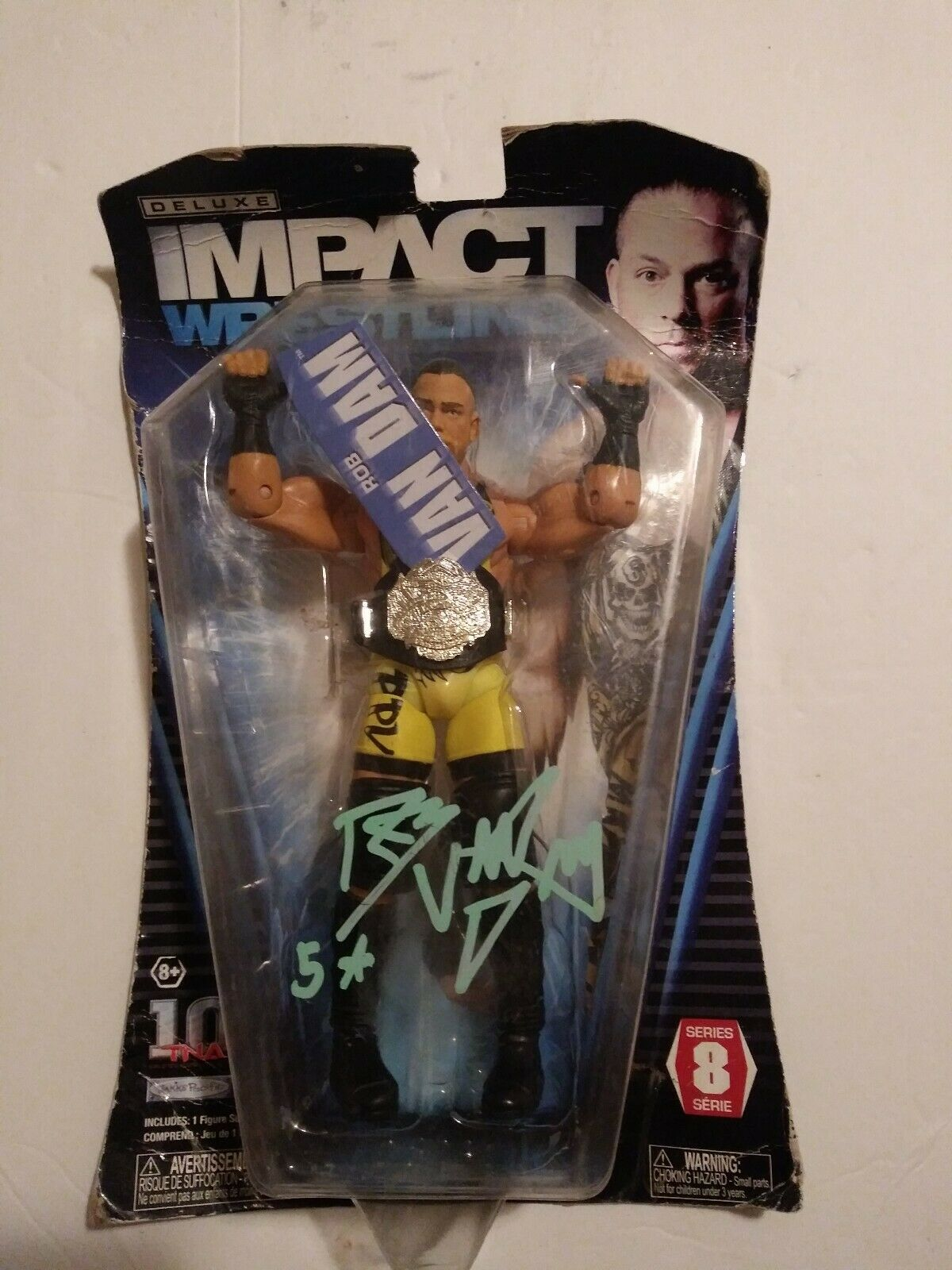 TNA Wrestling Deluxe Impact Series 8 Rob Van Dam Action Figure Signed
