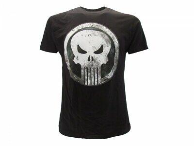 Nera Marvel Licenza Ufficiale Punisher Distressed Logo Maglietta da Uomo