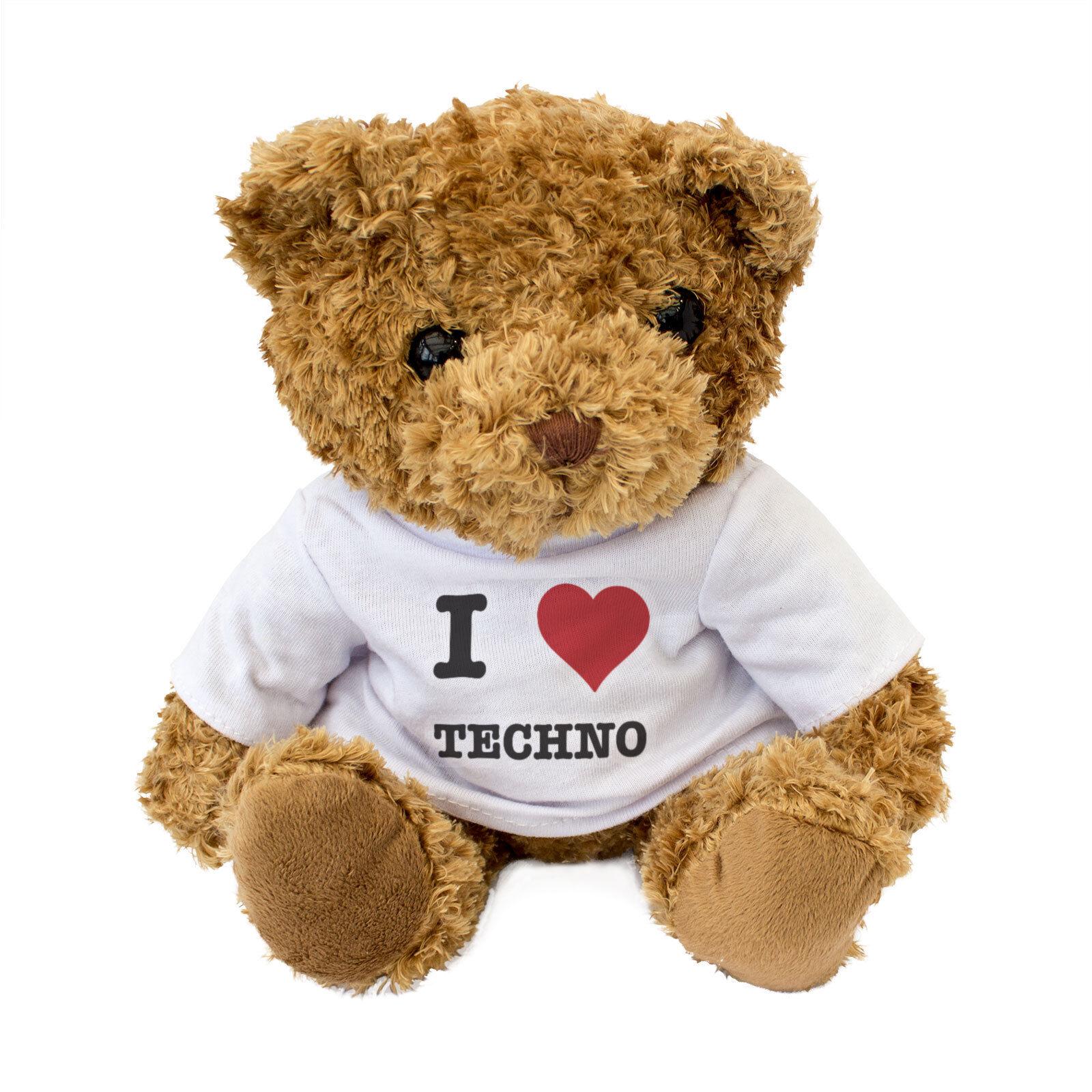 Neu - I Love Techno - Süß Teddybär Süß - Kuschelig - Musik Geschenk 4630d1