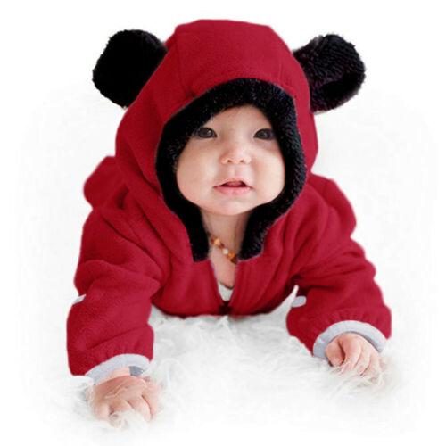 Infant Baby Girls Boys Solid Romper Cartoon Fleece Ears Hoodie Jumpsuit Outfits