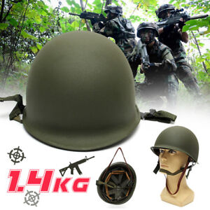 M1-CS-Helmet-WWII-Steel-WW2-US-USA-Tactical-Army-Equipment-Military-Green