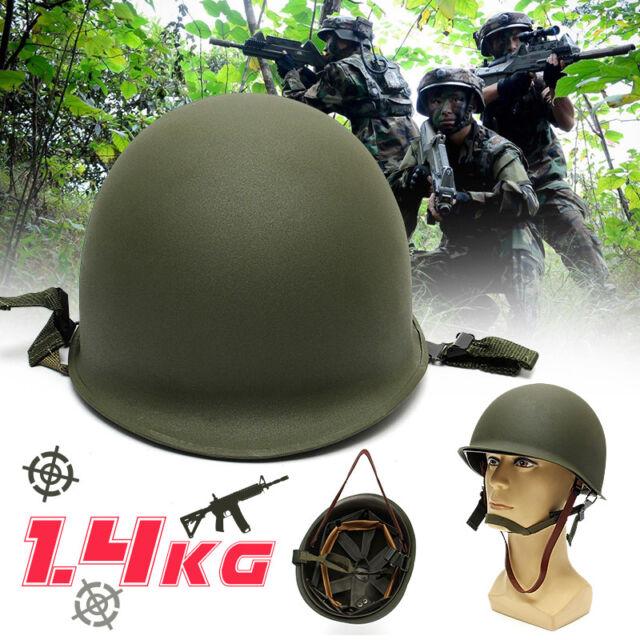 M1 CS Helmet WWII Steel WW2 US USA Tactical Army Equipment Military Green